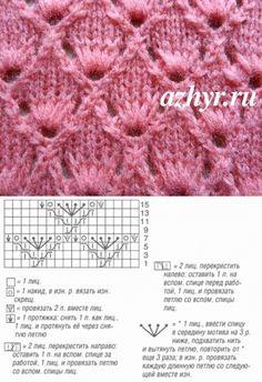 Ажурный узор с вытянутыми петлями | АЖУР - схемы узоров