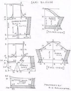 Sewing Blusas Drafting saree and blouse Sari Blouse, Saree Blouse Patterns, Dress Sewing Patterns, Saree Blouse Designs, Clothing Patterns, Skirt Patterns, Coat Patterns, Princess Cut Blouse, Blouse Tutorial