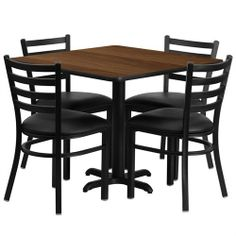 Flash Furniture 36'' Square Walnut Laminate Table Set with 4 Ladder Back Metal Chairs - Black Vinyl Seat by Flash Furniture. $224.11. Square Table and Metal Restaurant Chair Set, Set Includes 4 Chairs, Square Table Top and X-Base, Metal Restaurant Chair, Ladder Style Back, Black Vinyl Upholstered Seat, 2.5'' Thick 1.4 Density Foam Padded Seat, CA117 Fire Retardant Foam, 18 Gauge Steel Frame, Welded Joint Assembly, Curved Support Bar, Black Powder Coated Frame Finish, Plas...