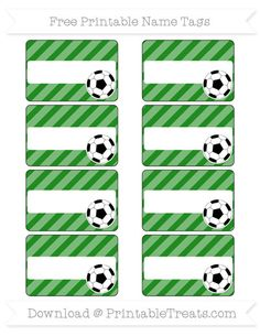 Free Forest Green Diagonal Striped  Soccer Name Tags