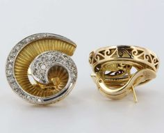 Art Deco Jewelry Antique | ... Art Deco Retro 14k Gold Diamond Clip Earrings Vintage Fine Jewelry