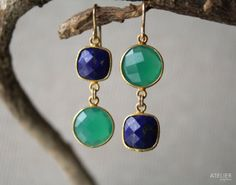 Lapis Lazuli & Green Onyx Earrings Perfect Gift for Mothers Day by ATELIERGabyMarcos, $129.00