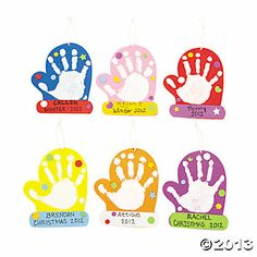 Mitten hand print ornaments. This would be cute for little hands.
