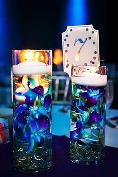Blue Orchid Centerpiece|Wedding at The Florida Aquarium|Photographer:  Limelight Photography