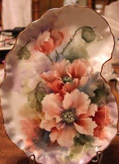 Alice Wofford - Poppies - Aren't they gorgeous! Porcelain Ceramics, China Porcelain, Painted Porcelain, China Painting, Tole Painting, Pintura Country, Hand Painted Plates, Decoupage Vintage, Teller