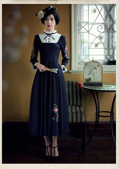 Find More Dresses Information about 2015 Winter Vintage stand collar swing hem embroidery dress women's dress,High Quality dresses dress,China dress. Women's Dresses, Cheap Dresses, Vintage Dresses, Nice Dresses, Vintage Outfits, Fashion Dresses, Long Sleeve Tunic Dress, Dress Long, Winter Dress Outfits