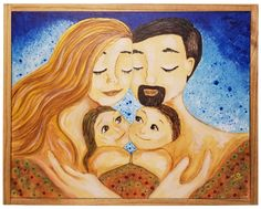 "Family Framed Painting 11"" x 14"" Acrylic on canvas , free shipping"