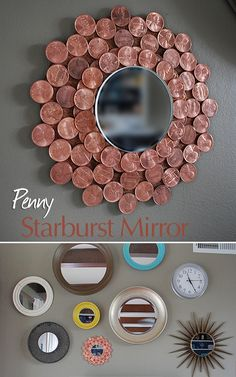 Hey Canadians, a great way to display those now discontinued pennies we have kicking around, especially the vintage ones! Penny Starburst Mirror