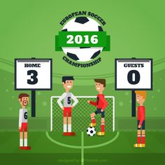Football match background in flat design Free Vector