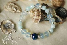 Blue agate, moonstone & aquamarine