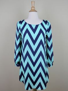 Mint and Navy Chevron Shift Dress - $49.99 : FashionCupcake, Designer Clothing, Accessories, and Gifts