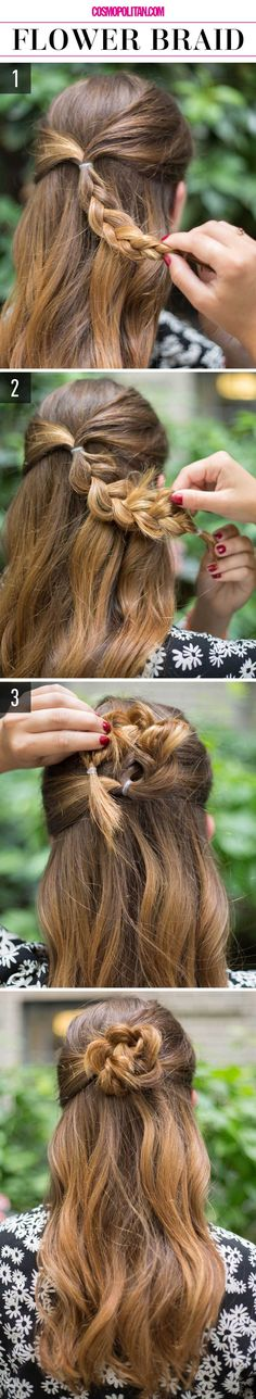 FLOWER BRAID: Create this pretty half-up and half-down look with this tutorial. Start by gathering a section of hair from both sides of your head and pulling it into a small ponytail in the back. Braid this and then tug at sections to loosen it (this creates a sexy, slightly messy look). Spin the braid around into a bun and secure it with bobby pins. Find the full instructions and more easy hair ideas here!