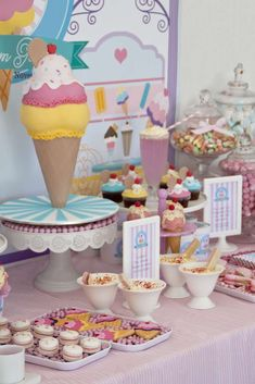 Ice Cream Parlour Party - Birthday Party Ideas for Kids and Adults Ice Cream Cone Cake, Ice Cream Parlor, Owl Themed Parties, Party Themes, Party Ideas, 50th Party, 1st Birthday Parties, Birthday Ideas, Graduation Parties
