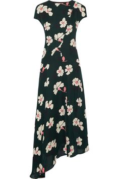 Marni | Asymmetric printed silk-chiffon midi dress | NET-A-PORTER.COM