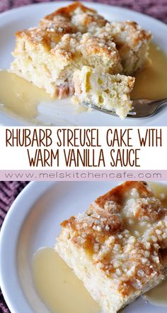 Streusel Cake with Warm Vanilla Sauce This Rhubarb Streusel Cake with Warm Vanilla Sauce is absolutely the most delicious way to use up rhubarb!This Rhubarb Streusel Cake with Warm Vanilla Sauce is absolutely the most delicious way to use up rhubarb! Rhubarb Desserts, Rhubarb Cake, Rhubarb Recipes, Fruit Recipes, Just Desserts, Sweet Recipes, Baking Recipes, Delicious Desserts, Cake Recipes