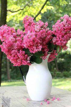 Pink flowers in white vase centerpiece