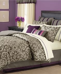 Martha Stewart Collection Bedding, Brownstone Damask 24 Piece Room in a Bag - Bed in a Bag - Bed & Bath - Macy's. Love this!!! Want for my room!!!
