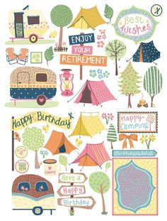 These beautiful camping illustrations are ideal for card making and scrapbooking - download them for free!