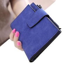 Mosunx(TM) Fashion Women Mini Zipper Bifold Leather Wallet in Blue(1) or Grey (2)