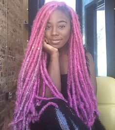 black girl with pink dreads colorful dreads colorful hair pink hair black wo black girl with pink dreads colorful dreads colorful hair pink hair black womens inspiration Faux Dreads, Ombre Dreads, Pink Dreads, Ombre Faux Locs, Dyed Dreads, Faux Locs Hairstyles, Dope Hairstyles, Black Girls Hairstyles, Protective Hairstyles
