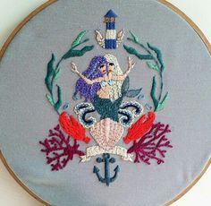 Freaky mermaid sisters embroidery by baobap handmade