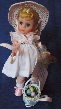 "RARE Madame Alexander 8 "" Easter Doll holding bunny  by TANYA / Egg Box #DollswithClothingAccessories"