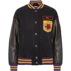 Miu Miu Leather-paneled appliquéd wool-felt bomber jacket ($1,675) ❤ liked on Polyvore featuring outerwear, jackets, miu miu, beaded jacket, wool leather jacket, patch bomber jacket, patch jacket and wool bomber jacket