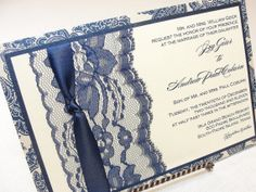 GINA Lace Wedding Invitation Invite Vintage by LavenderPaperie1, $600.00