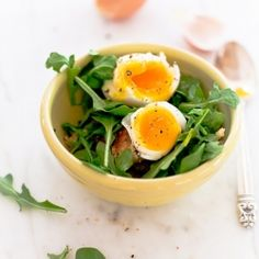 A Breakfast Salad? Soft Boiled eggs with greens and more...