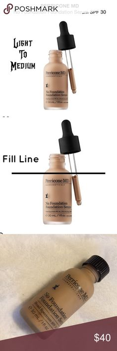 PERRICONE MD NO FOUNDATION FOUNDATION SERUM SPF 30 PERRICONE MD NO FOUNDATION FOUNDATION SERUM SPF 30 ~ USED ONCE/ STILL FULL ~ MISSING DROPPER!!! ~ NO BOX ~ EXP 6/2018 Perricone MD Makeup Foundation