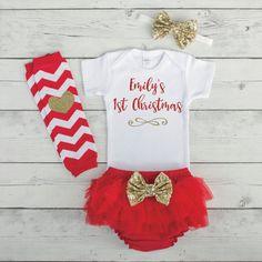 Baby Girl Christmas Outfit Baby Girl First Christmas Outfit Girl 1st Christmas Girl Outfit Personalized Christmas Shirt