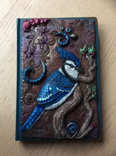 Polymer cover book. Blue jay.