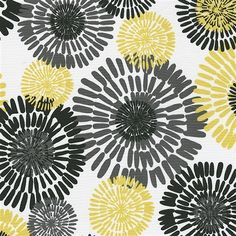 """Citron Burst Fabric Sold by the Yard  A burst of color and fun, this Cote d'Azur print adds a splash of color to everything. Shades of Citron, Gray and Black explode on this incredibly soft 100% quilting weight cotton.  100% Cotton  This is a Quilting weight fabric.  Pattern: 34.5"""" horizontal by 24"""" vertical repeat  Machine or hand wash separately, delicate cycle, cold water, mild detergent. Do not bleach. Line dry or tumble dry, low heat.  Approximately 45"""" wide  Price$9.40/yd"""