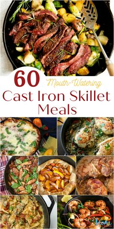 60 Mouth-Watering Cast Iron Skillet Meals You Need to Make for Your Family - Are you looking for easy one-dish meals you can make in a cast iron skillet? Take a look at these 60 Mouth-Watering Cast Iron Skillet Meals! Cast Iron Skillet Cooking, Iron Skillet Recipes, Cast Iron Recipes, Skillet Dinners, Cooking With Cast Iron, Lodge Cast Iron Skillet, Foods With Iron, Cast Iron Dutch Oven, One Pot Meals