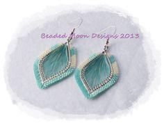 cream & sea foam opal green beaded string center earrings ~ https://www.facebook.com/pages/Beaded-Moon-Designs/229870373249