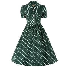 Dorothy Green White Polka Dot Swing Dress | Vintage Dresses- Lindy Bop
