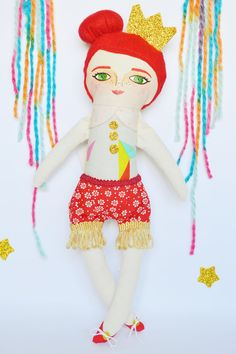 Queen Girl, Handmade cloth doll for kids, red hair, hand painted, stuffed doll, toy, rag doll, fabric doll