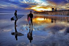 Reflections - Two Surfers at Low Tide in Oceanside.