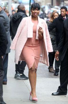 Jennifer Hudson's Good Morning America Corey Lynn Calter Pink Coat, Max Mara Dress, and Manolo Blahnik Pumps