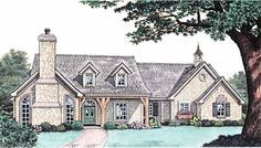 Eplans French Country House Plan - Stonework and Shutters - 2439 Square Feet and 3 Bedrooms from Eplans - House Plan Code HWEPL11305