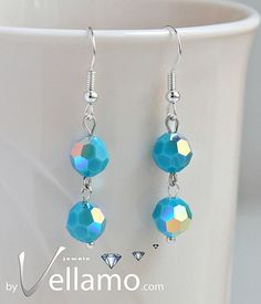 Sterling silver earrings with turquoise Swarovski by byVellamo, $16.50