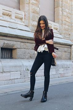 #Outfit wearing #velvet #burgundy jacket, jeans and booties