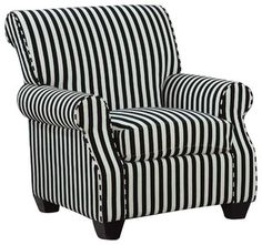 Coaster - Club Chairs - 902085 - This black and white stripe accent chair with plush seating is sure to make a bold statement. Pair with any of our black or