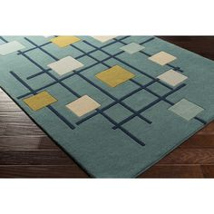 Zipcode Design Dean Hand-Tufted Teal Area Rug Rug Size: Square 6'