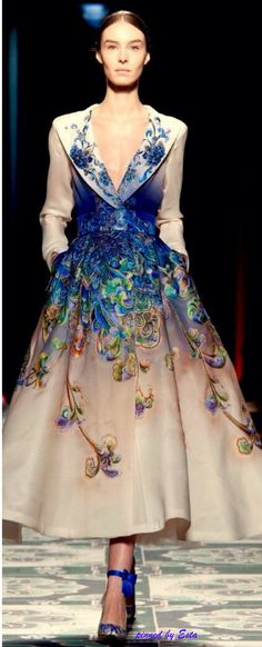 Non un abito, arte. Jean Paul Gaultier ~ Couture Spring Sweetheart Neckline Flared Skirt Midi Dress. Cream w Blue Floral 2015