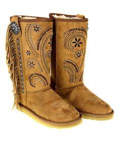 Another great find on #zulily! Brown Swirl Stud Fringe Suede Boots #zulilyfinds