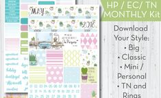 May 2018 Monthly Kit – Free Printable Planner Stickers