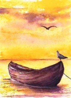 ACEO sea original painting watercolour sunset boat landscape birds art card #Miniature