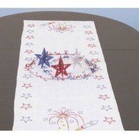 Independence Day Table Runner / Scarf for Embroidery by Jack Dempsey. $7.30. Jack Dempsey table runner / scarf embroidery kits are filled with beautiful designs that are fun to finish and make great heirloom gifts for family and friends. This scarf has stars and fireworks - sure to be a patriotic hit in your home!