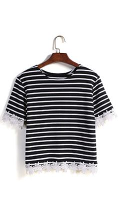 Striped Lace Embellished Summer Crop T shirt .Cute & street wear t-shirt cheap online .★★Buy T at ROMWE. Black And White T Shirts, Black Lace Tops, White Lace, Black White, Lace Tee, T Shirt And Shorts, Latest Street Fashion, Women's Fashion, Striped Tee